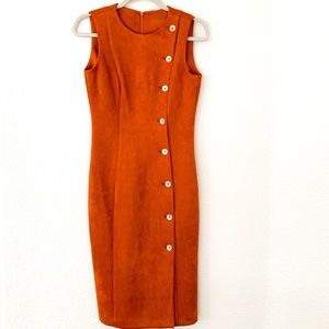 🍁Calvin Klein Faux Suede Sleeveless Sheath Dress